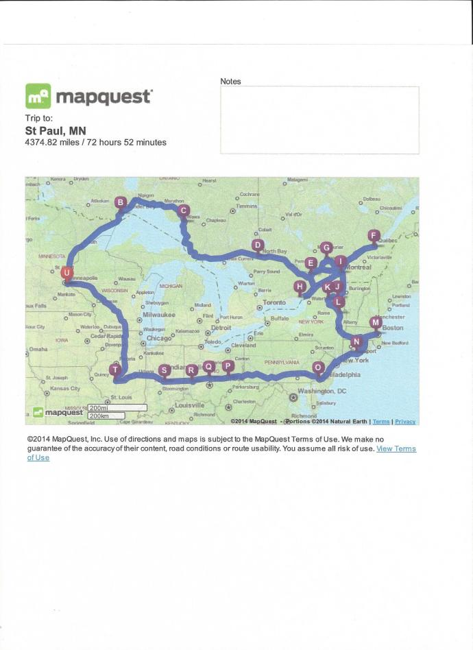 Map of Sept-Oct 2014 Trip to Eastern Canada and US.