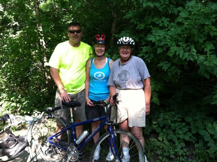 Jim, Heidi and Chris along the bike trail