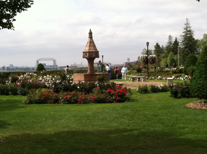Duluth Rose Garden with aerial lift bridge in background