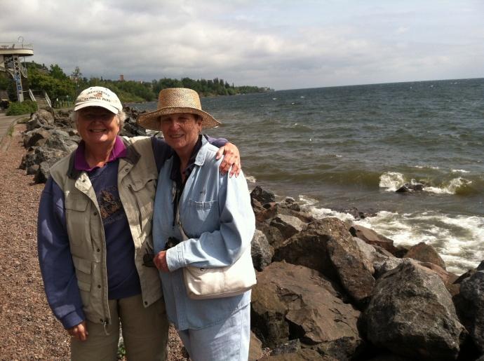 Chris and Kathy walking along Lake Superior