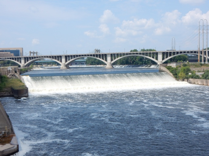 St. Anthony falls area today at non-flood and with water not diverted for mills