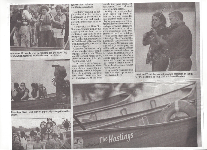 Hastings paper article on canoe trip