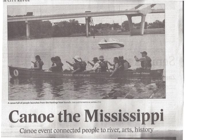 Hastings newspaper article on river canoeing