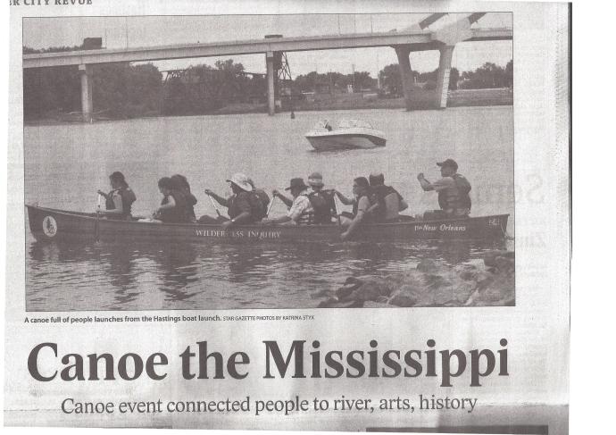 Hastings newspaper article on river canoeing