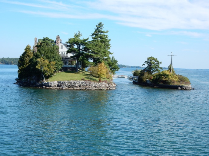 That small bridge actually connects a Canadian island with a U.S. island
