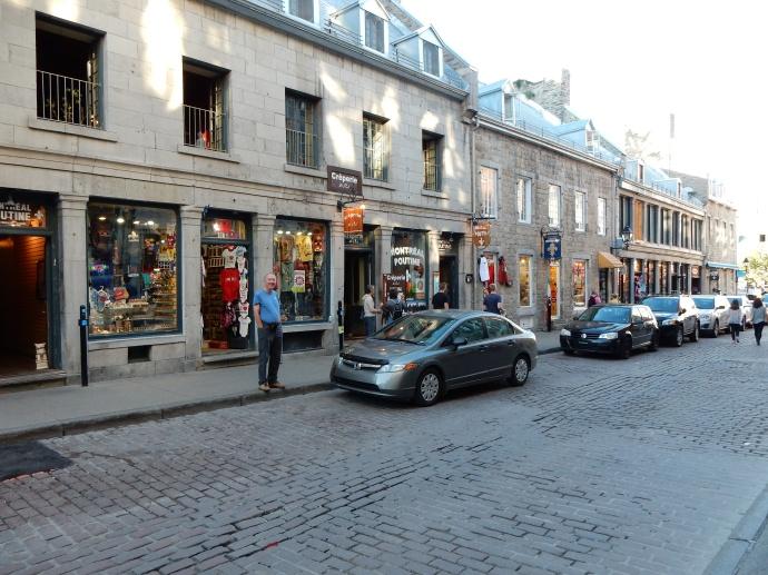 Ed on Rue St. Paul street with cobblestones