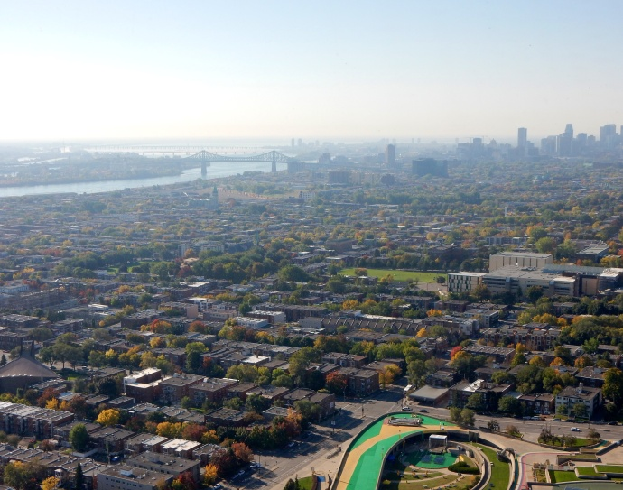 View from  Tower towards downtown Montreal