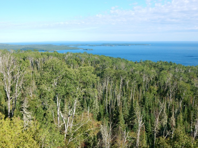 Looking down at part of the bay at Grand Portage