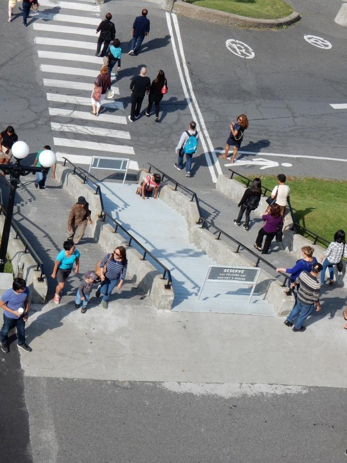 Pilgrim climbing the stairs