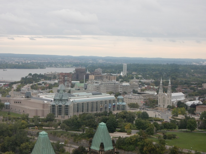 View from Peace Tower, Notre Dame Cathedral is twin spires at right center