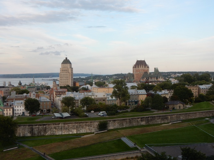 View of Quebec from our hotel, walled city at bottom