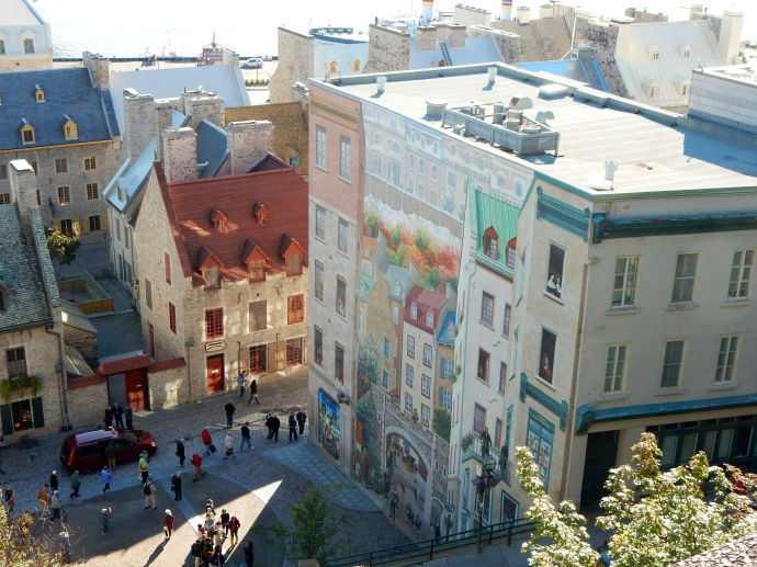 Looking down at Lowertown and mural of 400 years of history