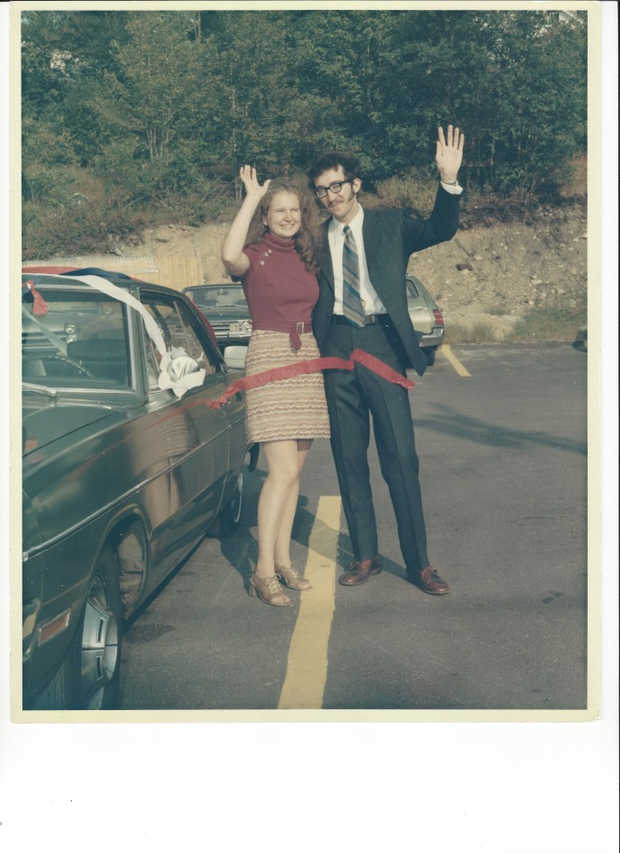 Ed, Chris and our Dodge Dart as we begin our honeymoon, Sept 9, 1972