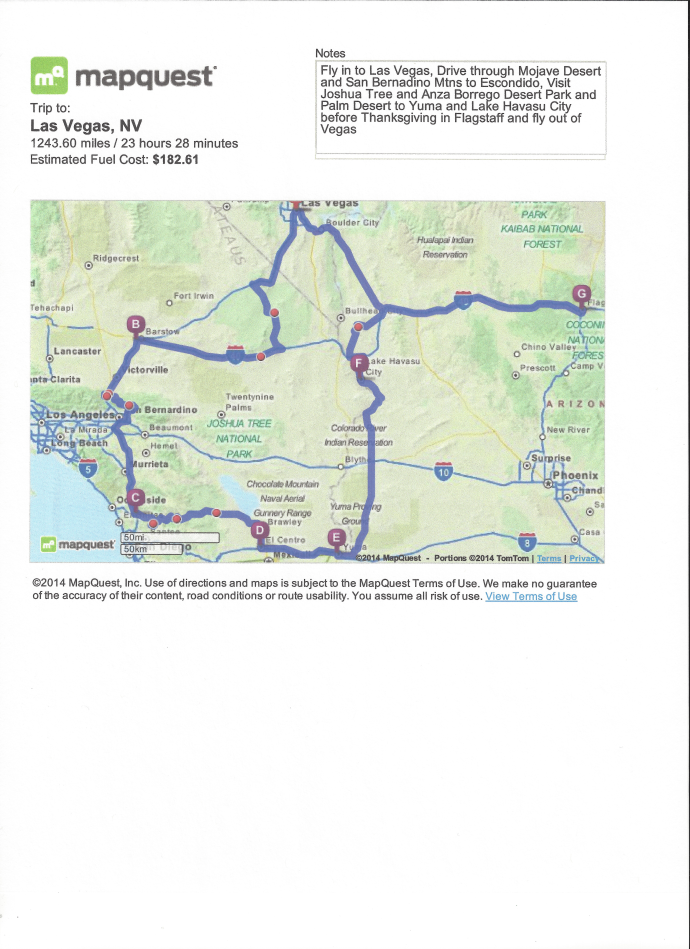 Map of Trip Seven 2014