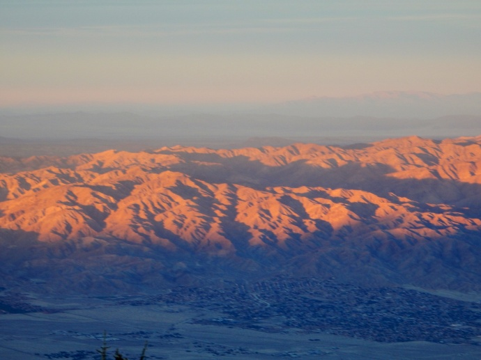 Looking east from Palm Springs aerial tramway at sunset