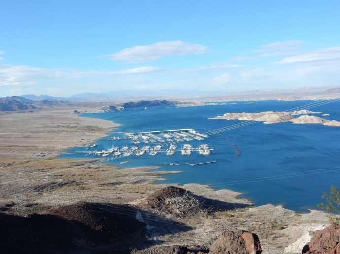 Lake Mead at much lower  level, note salt level on island and how far marina has been moved from plains to the left