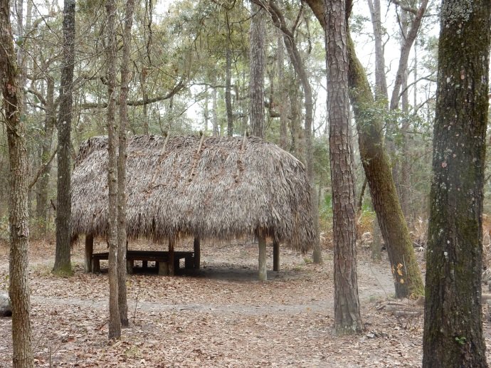 Replica of a chickee hut used by the Seminole Indians when they were pushed into the woods and swamps during the Seminole Wars