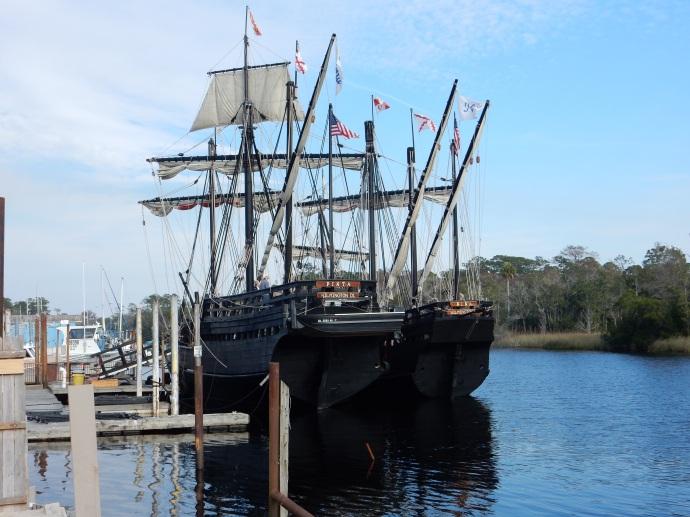 Nina and Pinta replica at St. Marks FL