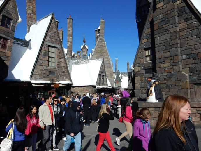 View of Hogsmeade street from the Wizarding World of Harry Potter at Islands of Adventure