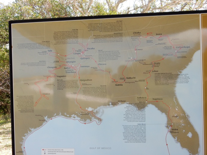 A map of De Soto's exploration route in southern United States