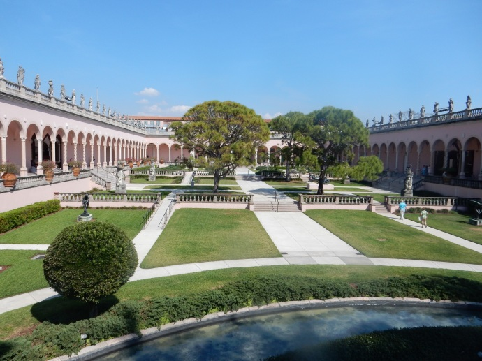 The courtyard at the Ringling Museum of Art