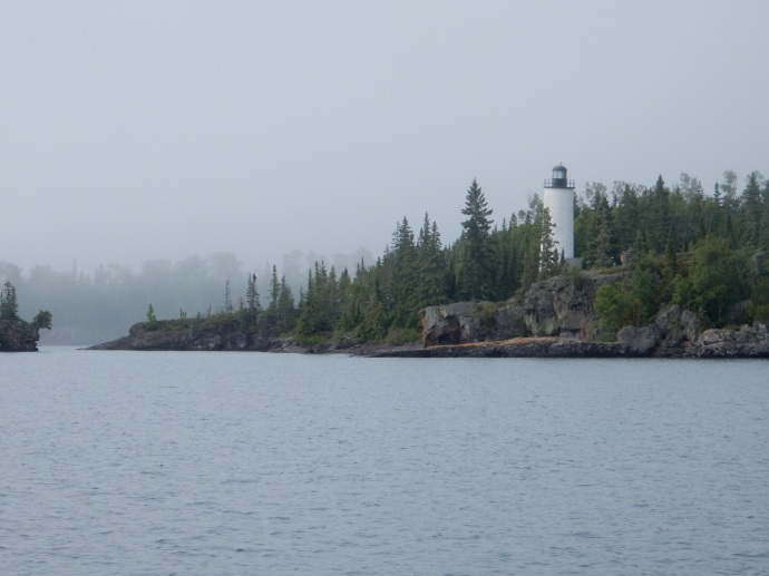Rock Harbor Lighthouse in Lake Superior by Isle Royale