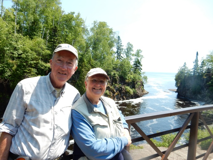 Ed and Chris as the Temperance River flows into Lake Superior