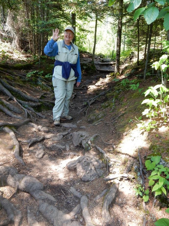 Chris hiking down towards Lake Superior