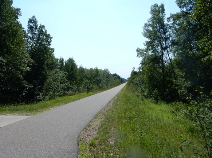 The sunny Paul Bunyan Trail