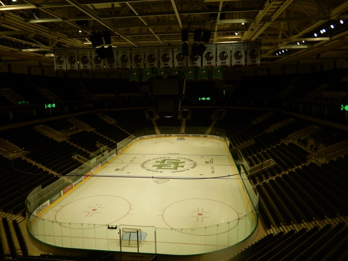 The University of North Dakota Ralph Engelstad Arena ice rink.
