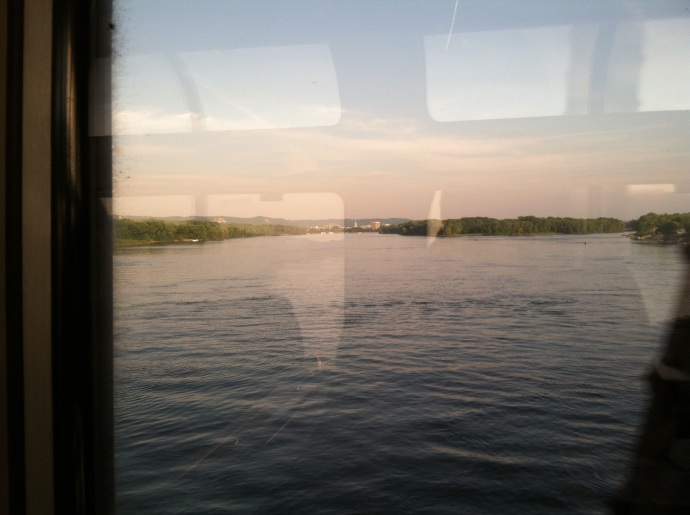 Crossing the Mississippi River at LaCrosse WI-LaCrescent MN on Empire Builder for Trails and Rails