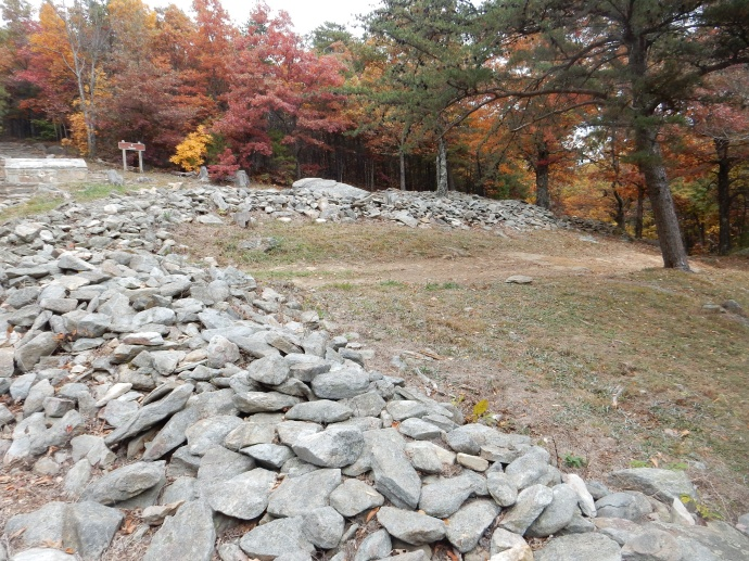 One view of the stone wall at Fort Mountain state park in GA