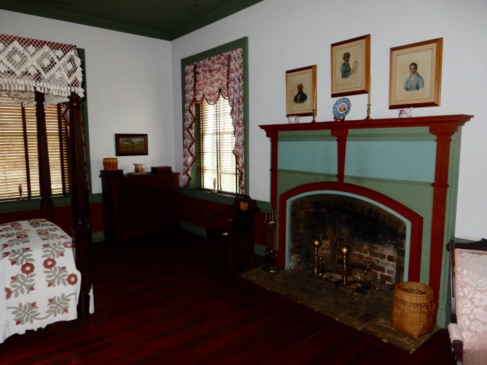 Interior room with original paint colors restored at Chief Joseph Vann Historic Site in GA