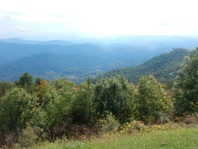 View from the Foothills Parkway east into the Great Smoky Mountains