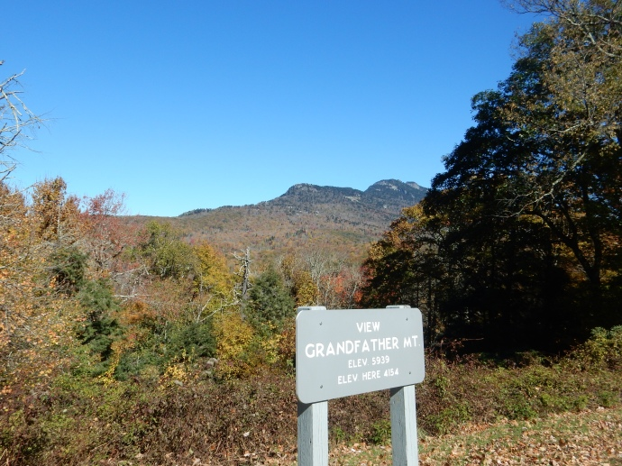 In the background, Grandfather Mountain