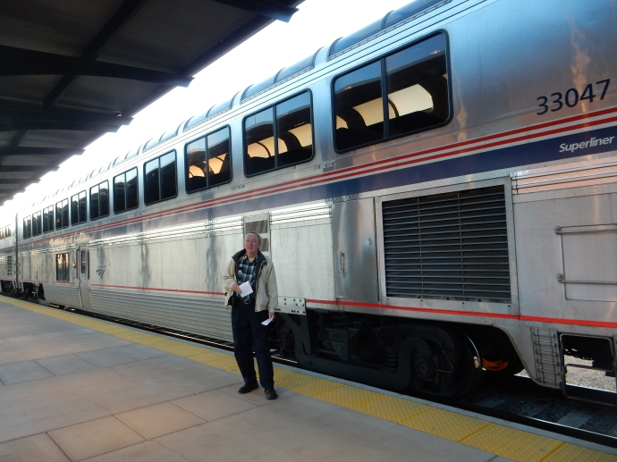 Ed and Amtrak observation car at Union Depot in St. Paul