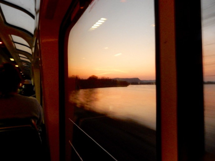 Sunset view along the Mississippi in Minneosta from the Empire Builder