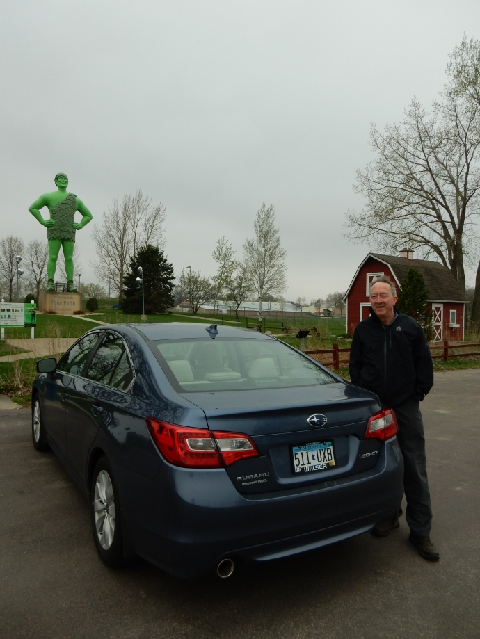 The Jolly Green Giant, Ed and our new Subaru Legacy that replaced our 2001 Saturn