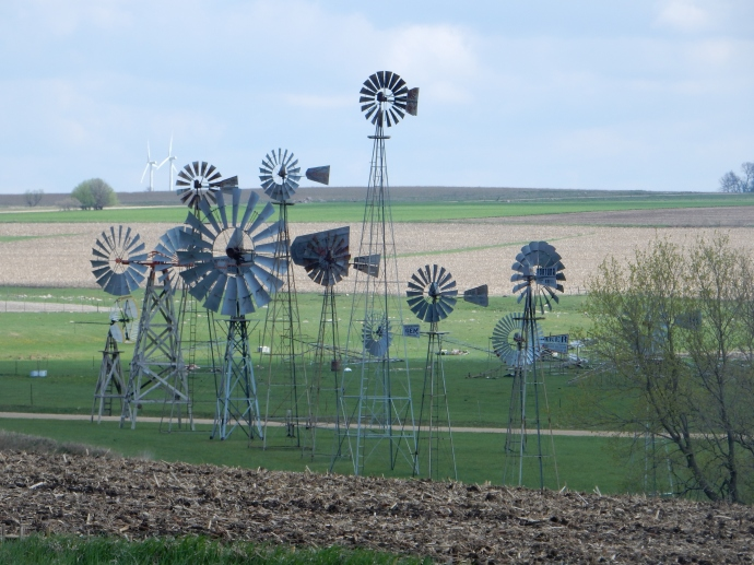 Windmill collection in Jasper MN with wind turbines in background