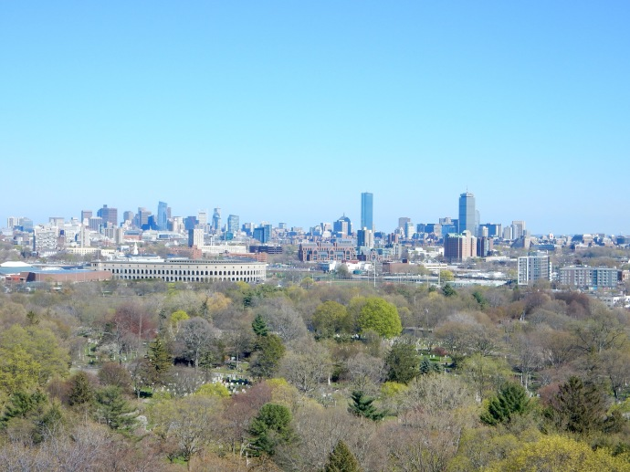 Boston skyline from Washington Tower at Mt. Auburn Cemetery