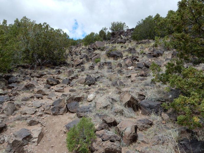 Climbing to the Petroglyph site