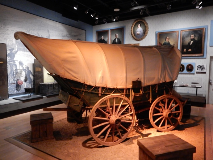 A reduced scale model of the wagons used to transport goods on the Santa Fe Trail