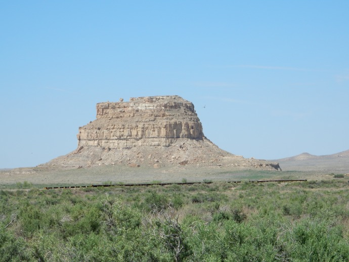 Fajada Butte in Chaco Canyon rises 300 feet from canyon floor-used to mark equinoxes and solstices