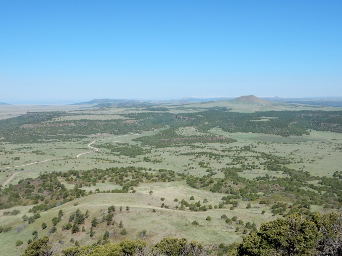 View looking at other volcanoes and lava flow ridges, etc. from Capulin Volcano