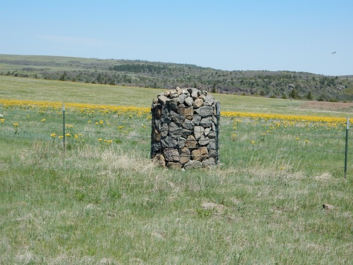 On Johnson mesa, numerous fence posts are made from stones