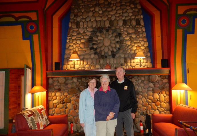 Dinner at Naniboujou Lodge with the fireplace and Cree Indian design in background