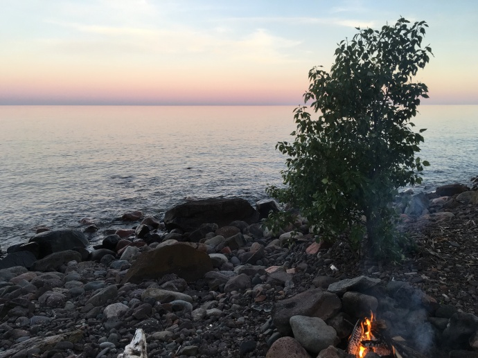 Sunset at Lake Superior with our fire Thursday night
