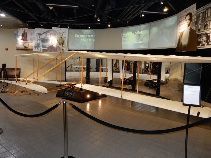 A replica of the Wright Flyer in the museum