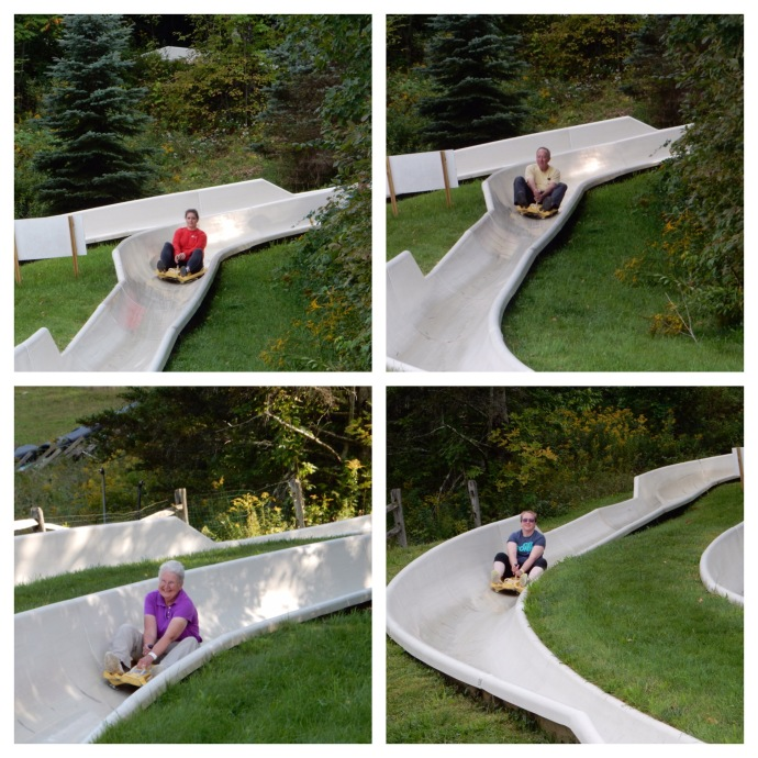 The four of us on the Alpine Slide at Jiminy Peak