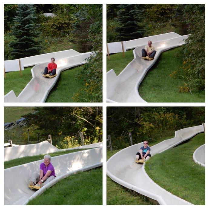 The four of us on the Alpine Slide at Jiminy Peak